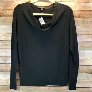 Ann Taylor Black Sweater Merino Wool Cowl Neck M